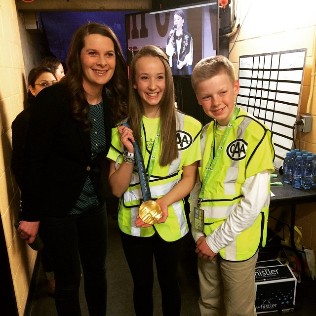 Backstage at #WeDay making these kids' day. Olympic gold medal and Jennifer Botterill.