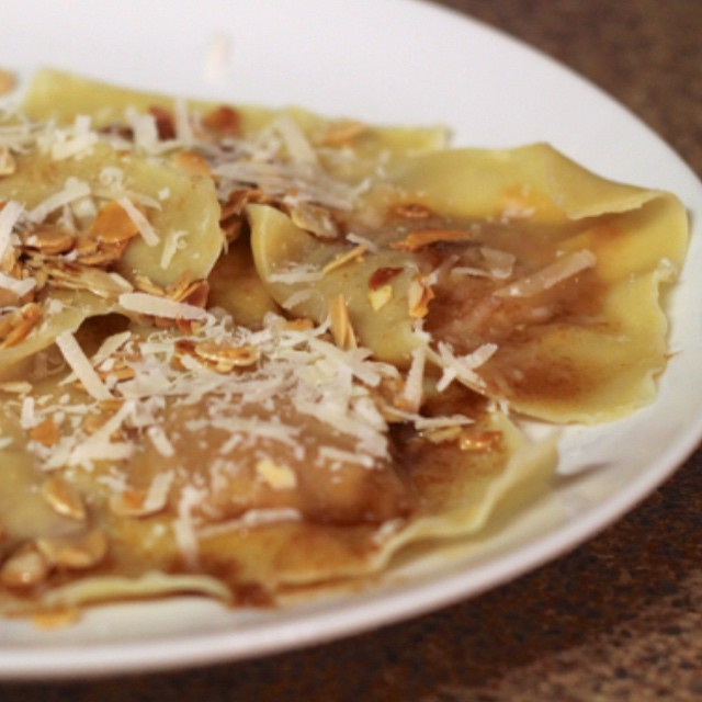 Pumpkin ravioli with brown butter, crispy sage and toasted almonds #ontheblog this morning! 🍴