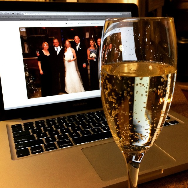 Wedding photo viewing party for two in full force! Simultaneously celebrating one month of marriage - and we still like each other! #jjwedding @stephaniemackinnon1 @jasondhanrahan