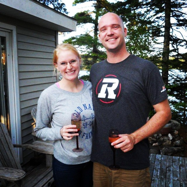 Cat's out of the bag... here is My Other Half and I toasting his new job at my family cottage!!! @jasondhanrahan