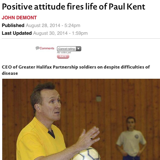 Amazing article in The Chronicle Herald about my dad and his degenerative brain condition. I am in awe of his positivity and zest for life. Have a read - it's just a glimpse into why he is my favourite person on earth. @paulkentGHP