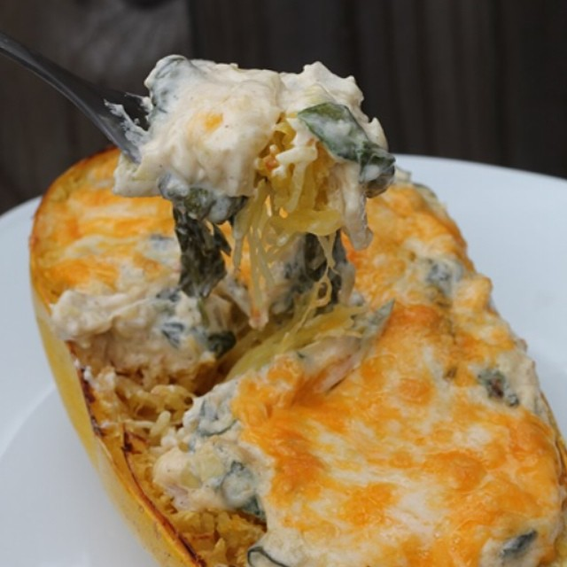 I roasted a spaghetti squash and then stuffed it with spinach & artichoke dip... Whoops. 🍴